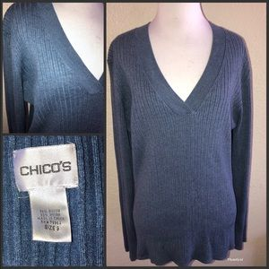 Chico's blue ribbed fitted sweater sz 3